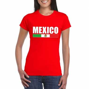 Rood mexico supporter t-shirt voor dames