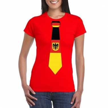 Rood t-shirt met duitsland vlag stropdas dames