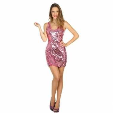 Roze disco verkleed jurkje met pailletten voor dames