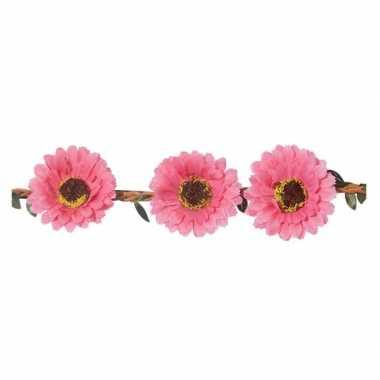 Roze madeliefjes festival/hippie haarband voor dames
