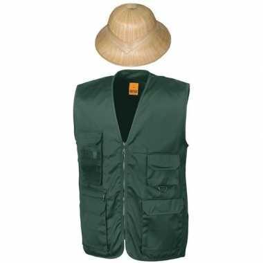 Safari/jungle verkleedset vest en hoed groen voor volwassenen
