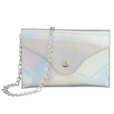 Schoudertasje/handtasje metallic wit 18 cm