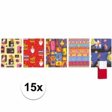 Sinterklaas kado papier rol 15x