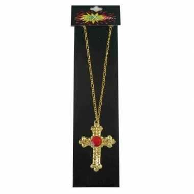 Sinterklaas kruis ketting met rode steen