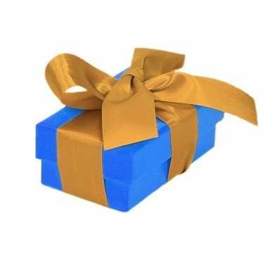 Sinterklaas pakje blauw met gouden strik 8 cm