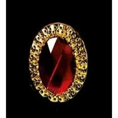 Sinterklaas verkleed ring goud/rood ovaal voor heren