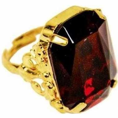 Sinterklaas verkleed ring goud/rood rechthoekig voor heren