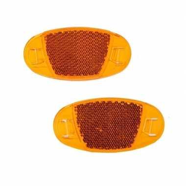 Spaakreflectoren / fietsreflectoren oranje set 2 stuks