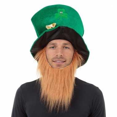 St patricks day groene hoed met baard voor volwassenen