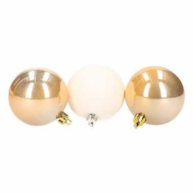 Stylish christmas kerstboomversiering gouden en witte ballen 6 cm