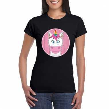 T-shirt eenhoorn zwart dames