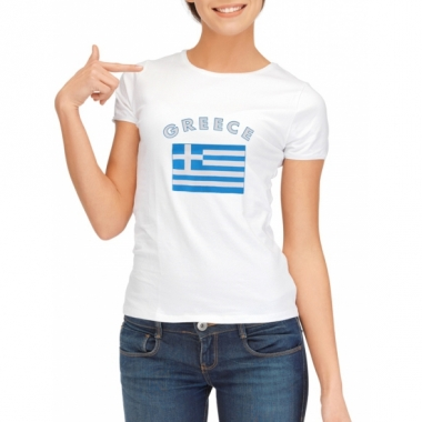 T-shirt met griekse vlag print voor dames
