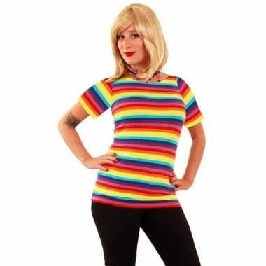 T-shirt met regenboog strepen voor dames