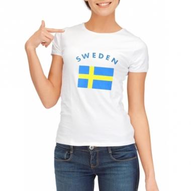 T-shirt met zweedse vlag print voor dames