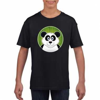 T-shirt panda zwart kinderen