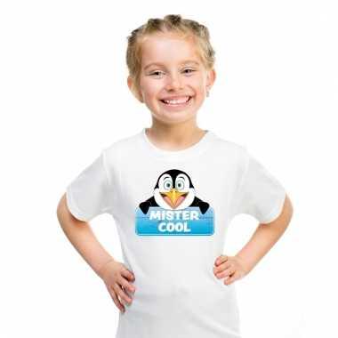 T-shirt voor kinderen met mister cool de pinguin
