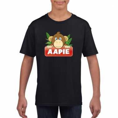 T-shirt zwart voor kinderen met aapie het aapje