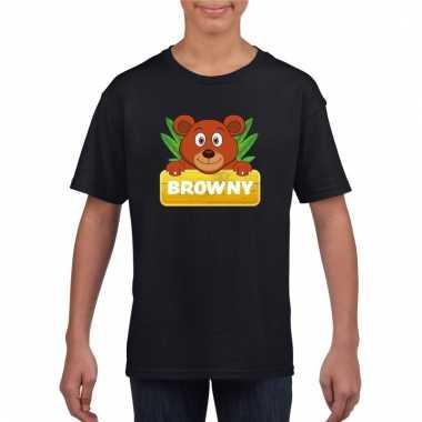 T-shirt zwart voor kinderen met browny de beer