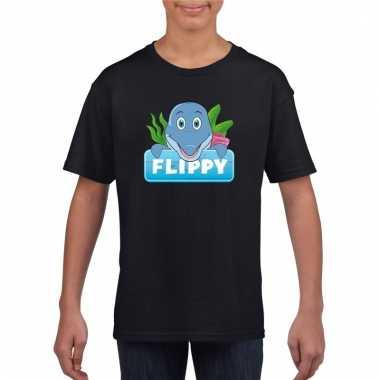 T-shirt zwart voor kinderen met flippy de dolfijn