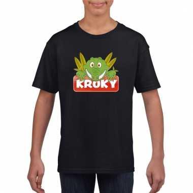T-shirt zwart voor kinderen met kroky de krokodil
