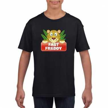 T-shirt zwart voor kinderen met luipaard fast freddy