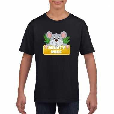 T-shirt zwart voor kinderen met muisje mighty mike