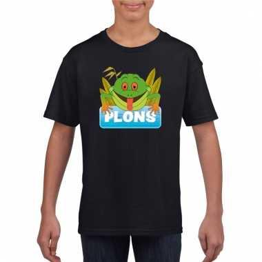 T-shirt zwart voor kinderen met plons de kikker