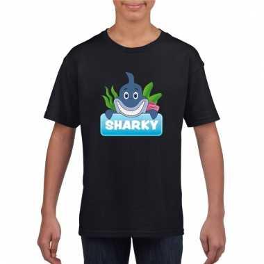 T-shirt zwart voor kinderen met sharky de haai