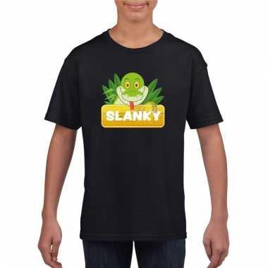 T-shirt zwart voor kinderen met slanky de slang