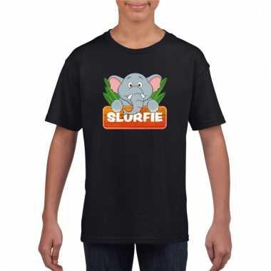 T-shirt zwart voor kinderen met slurfie de olifant