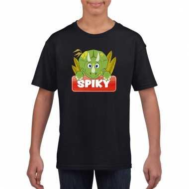 T-shirt zwart voor kinderen met spiky de dinosaurus