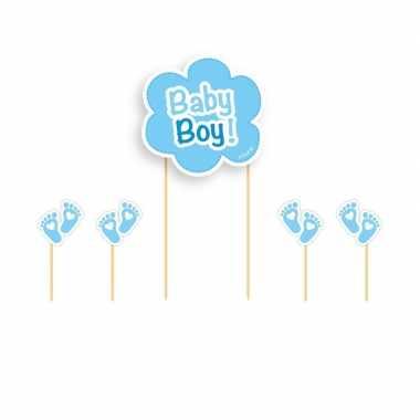 Taart topper baby boy blauw