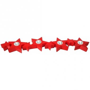 Tafel kaarsenhouder rode kerststerren 35 cm