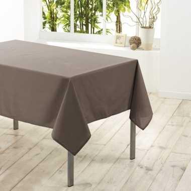 Tafelkleed/tafellaken taupe 140 x 250 cm textiel/stof