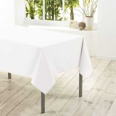 Tafelkleed/tafellaken wit 140 x 250 cm textiel/stof
