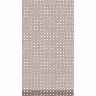 Tafellaken/tafelkleed bruin met witte stippen 138 x 220 cm
