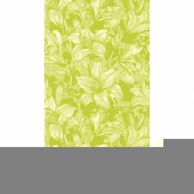 Tafellaken/tafelkleed met bloemen/lelie print lime 138 x 220 cm