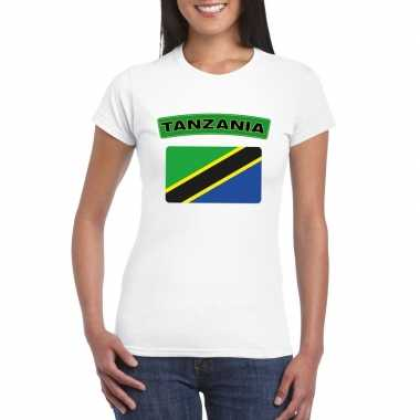 Tanzaniaanse vlag shirt wit dames