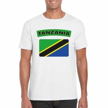 Tanzaniaanse vlag shirt wit heren