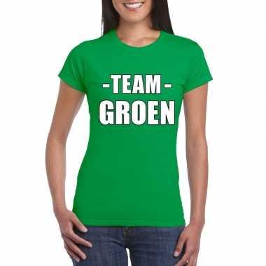 Team shirt groen dames voor training