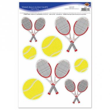 Tennisbal en racket sticker decoraties
