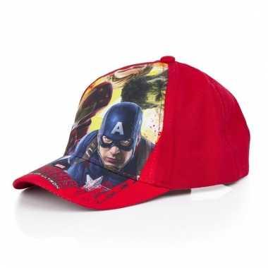 The avengers zomer petten/caps rood voor kids