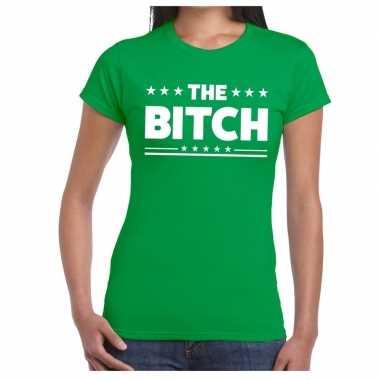 The bitch tekst t-shirt groen dames