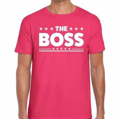 The boss tekst t-shirt roze heren