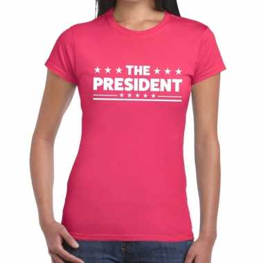 The president tekst t-shirt roze dames