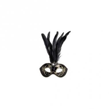 Theater oogmasker met veren en gouden glitters