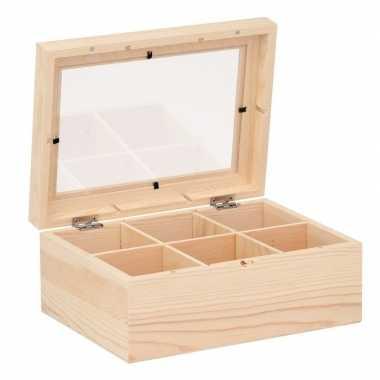 Theedoos versieren houten kistje 22 cm