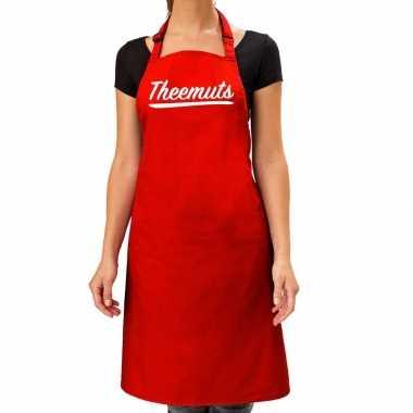 Theemuts keukenschort rood voor dames