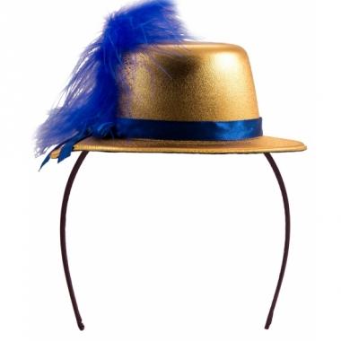 Tiara hoedje goud met blauw