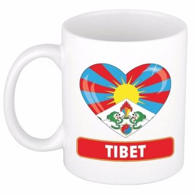 Tibetaanse vlag hartje koffiemok 300 ml